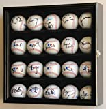 20 Baseball Display Case Cabinet Holder Wall Rack w/ UV Protection