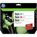 HP 564 Cyan, Magenta & Yellow Original Ink Cartridges with Photo Paper, 3 pack (B3B33FN)