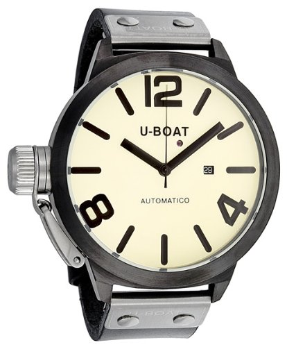 U-Boat Automatic Beige Dial Black Leather Strap Mens Watch 339