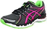 ASICS Womens Gel-Kayano 19 Running Shoe,Black/Electric Pink/Apple,7.5 M US