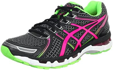 ASICS Women's Gel-Kayano 19 Running Shoe,Black/Electric Pink/Apple,6 M US