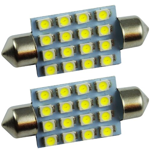 Quickfitled (2 Pieces) Pair Direct Fit White 16-Smd 41Mm Led Festoon Bulb Lamp Festoon For Interior Dome Map