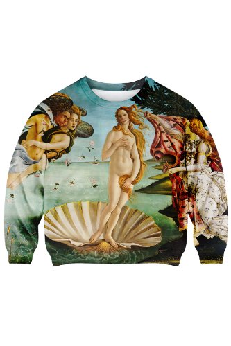 Romwe Women'S The Birth Of Venus Oil Picture Pattern Polyester Sweatshirt-Colorful-S front-951965