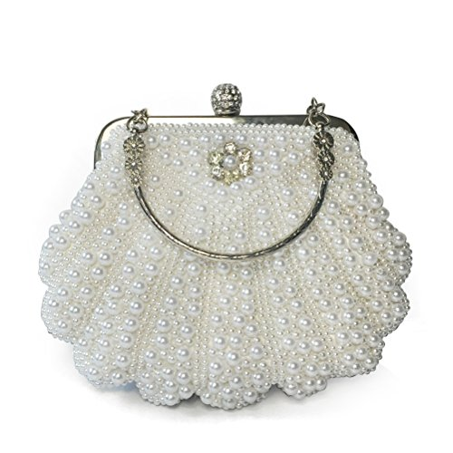 Taidaf 1920's Full Beaded Vintage Pearls Wedding Clutch Purses Large Evening Handbags for Women (Vintage Clutch compare prices)