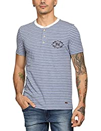 Abof Men Blue Melange Striped Regular Fit Henley T-shirt