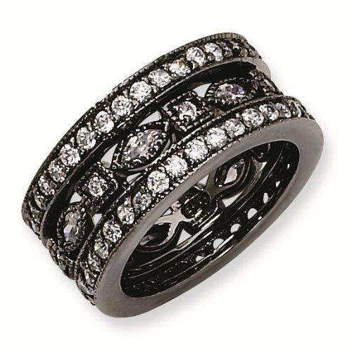Black-plated Sterling Silver CZ Eternity Three Ring Set - Size 6