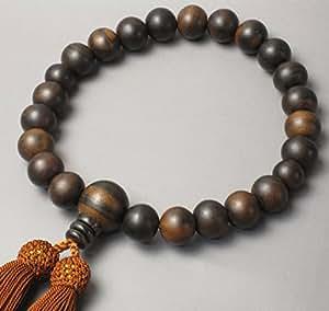 念珠堂 数珠 縞黒檀 男性用 手作り 人絹頭付房