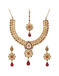 Shahenaz Jewellers 24 Ct Gold Plated Bridal Jewellery Set With CZ And Marquis Stones For Women - B00R2IOIOW