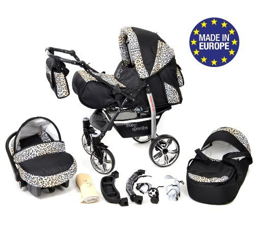 3-in-1 Travel System incl. Baby Pram with Swivel Wheels, Car Seat, Pushchair & Accessories, Black & Leopard