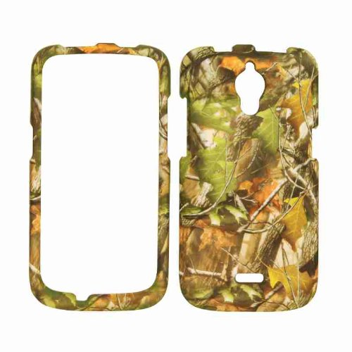 Cell Armor Snap-On Cover For Huawei Vitria H882L - Retail Packaging - Hunter Series With Green Leaves
