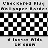 Checkered Flag Cars Nascar Wallpaper Border-6 Inch (Black Edge)