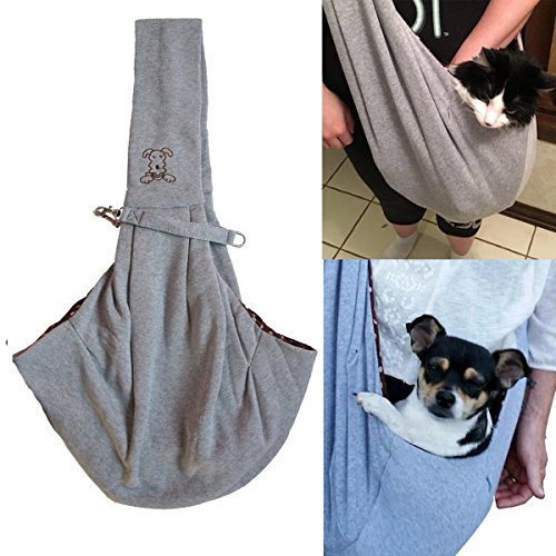 ME.FAN™ Reversible Small Dog Cat Sling Carrier Bag – Hands-free Travel Double-sided Pouch Shoulder Carry Tote Puppy Kitty Rabbit – Soft Comfortable Breathable Cotton Pet Outdoor Handbag – Gray