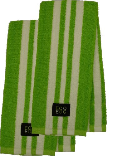 Cotton Kitchen Towel (Lime Green with White Rugby Stripe, 2-Pack)