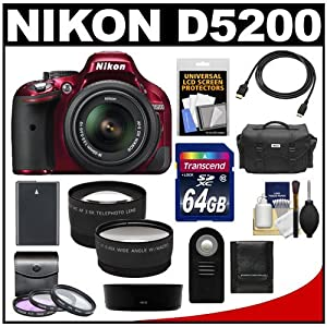 Nikon D5200 Digital SLR Camera & 18-55mm G VR DX AF-S Zoom Lens (Red) with 64GB Card + Battery + Case + 3 Filters + Tele/Wide Lenses + Remote + HDMI Cable + Accessory Kit