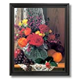 Grapes Oranges Flowers Kitchen Home Decor Wall Picture Black Framed Art Print