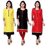 Success fashion Women's Cotton Unstiched Combo(3) Kurti Material (cotton_Freesize_ Multicolor )