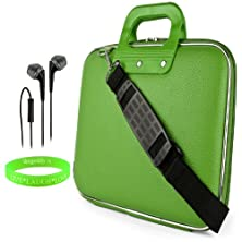 """buy Cady Messenger Cube Lime Green Ultra Durable Leatherette Bag Case Fits Asus Transformer Pad: Tf300(Tl, T) Tf701T, Tf103C, 10.1"""" Tablets + Black Headphones With Mic"""