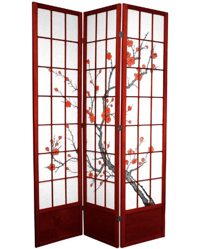 Modern Asian Decor - 7ft. Cherry Blossom Japanese Shoji Screen Room Divider - Rosewood 3 Panel
