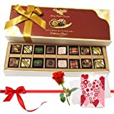 Valentine Chocholik's Belgium Chocolates - Best Creation Of Pralines Chocolates With Love Card And Rose