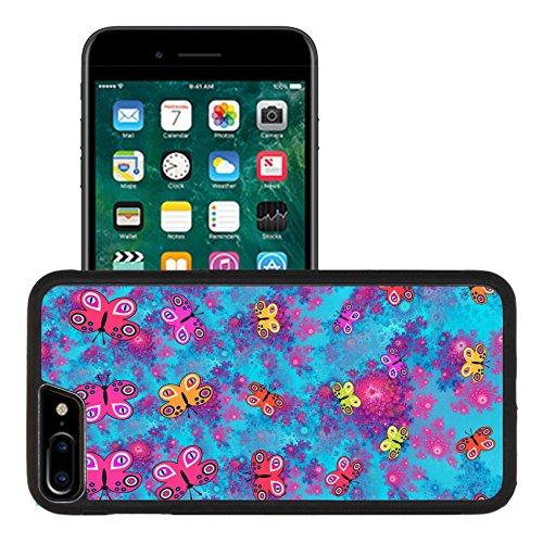 Luxlady Premium Apple iPhone 7 Plus Aluminum Backplate Bumper Snap Case IMAGE ID: 37799933 Stylized butterflies on pink blue fractal rosebud pattern computer generated graphic