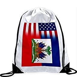 Large Drawstring Bag with Flag of Haiti - Flag w USA Flag - Long lasting vibrant image