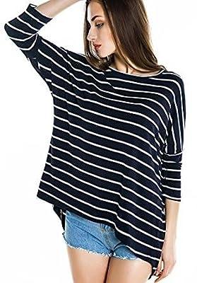 Urban CoCo Women's Black White Striped Loose T-shirt Hi-low Style