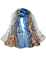 Womdee Gradient Floral Printing Retro Silk Chiffon Scarves With Womdee Accessory