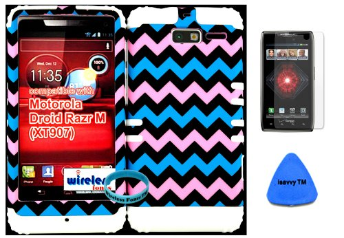 Hybrid Cover Bumper Case For Motorola Droid Razr M (Xt907, 4G Lte, Verizon) Protector Baby Pink, Blue, Black Chevron Pattern Snap On + White Silicone (Included Wristband, Screen Protector And Pry Tool By Wirelessfones) front-1008892