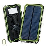 15000mAh モバイルバッテリー ソーラー充電器 大容量 緊急電源 2ポート LEDライト付き (グリーン)