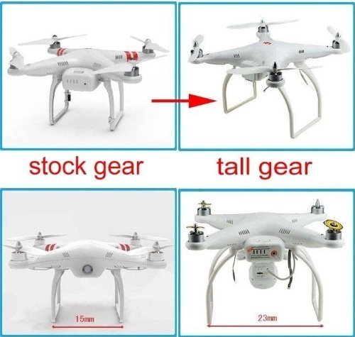 Hobbypower Tall Landing Gear for DJI Phantom 1 2 Vision Quadcopter Wide & High Extend (White)