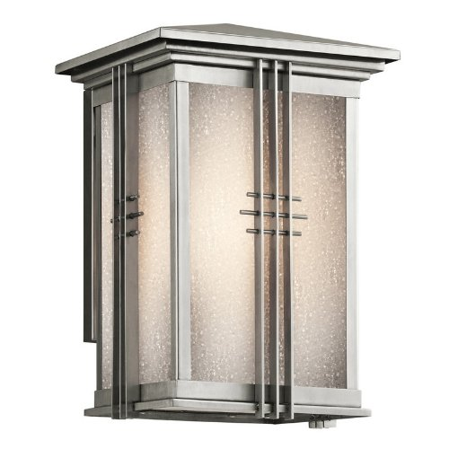 49158Ss Portman Square 1Lt 11In Exterior Wall Lantern, Stainless Steel Finish With Etched Seedy Glass