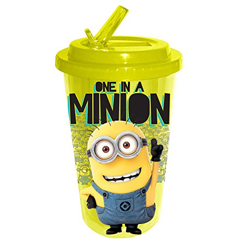 Silver Buffalo DM0984 Despicable Me One in a Minion Flip Straw Cold Cup, 16-Ounce, Yellow - 1