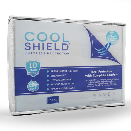 Cool Shield No Allergy Waterproof Mattress Protector - Breathable Terry Cover Protects Against Dust Mites, Allergens, Bacteria, Mold And Fluids - Machine Washable Mattress Protector - Size: Full Xl (54 In X 80 In) front-945402