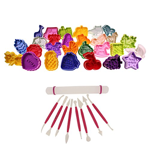 Set Of 28 Cake Cookie Decorating Plunger Cutter Set With 8 Modelling Tools And Rolling Pin By Kurtzy Tm front-633665