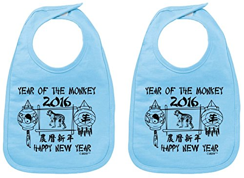 Baby Registry Gifts Chinese New Year 2016 Year of the Monkey Baby Bib Light Blue 2 Pack