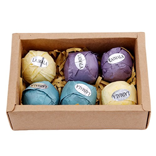 LAIMALA Bath Bombs Gift Set, Organic Natural Essential Oil, Ideal for Spa & Beauty, Skin Care, Stress Relief, 6pcs