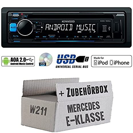 Mercedes E-Klasse W211 - Kenwood KDC-100UB - CD/MP3/USB iPod/Android-Steuerung Autoradio - Einbauset
