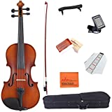 ADM 1/4 Size Handcrafted Solid Wood Student Acoustic Violin Starter Kit for Kids(with Hard Case, Bow, Rosin, Tuner, Shoulder rest, Fingerboard Sticker), Red Brown