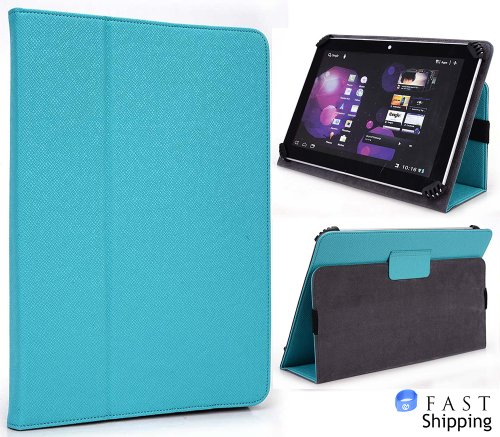 Turquesa ( Baby Blue ) Universal Book Style Cover Case With Built-In Stand [Accord Series] For Kindle Fire Hd 8.9 Inch Tablet + Envydeal Velcro Cable Tie front-1081048