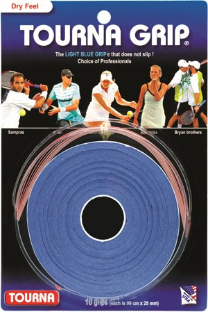 Tourna Tennis Racquet Over Grip-10 Overgrips-Absorbent Dry Feel Tournagrip-Blue