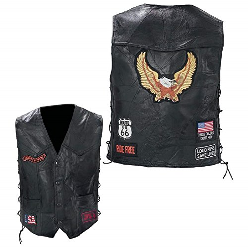 Diamond Plate Rock Design Genuine Buffalo Leather Eagle Biker Vest (Large)