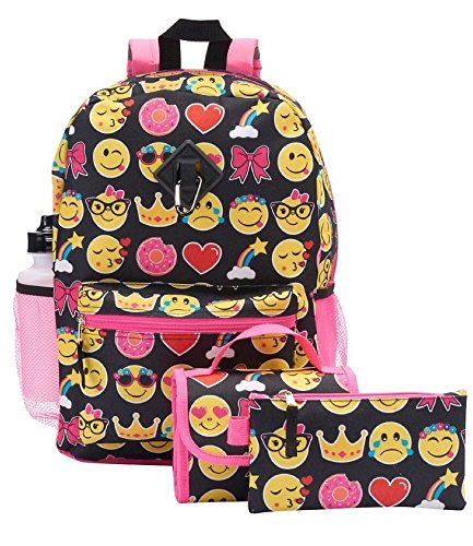 Kids Emoji 5 Piece Backpack Set - Large Backpack, Lunch Bag, Pencil Case, Water Bottle and Clip (Feeding Bottle Case compare prices)