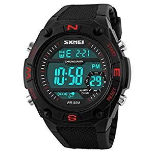 Classical Men's Watches Women's Watches Fashion Water-resistance Watches Students Watch Boys Girls Outdoor Sports Watch Christmas Gift Watch (Red)