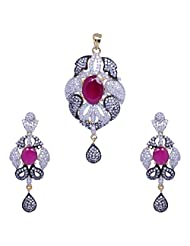Gehna Cubic Zircon & Big Size Ruby Studded Pendant & Earring Set With Black Rhodium