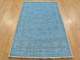 3 x 5 HAND KNOTTED OVERDYED SKY BLUE PESHAWAR ORIENTAL RUG G21990