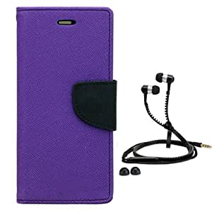 Aart Fancy Diary Card Wallet Flip Case Back Cover For Apple I phone 5-(Purple) + Zipper earphones/Hands free With Mic *Stylish Design* for all Mobiles By Aart store