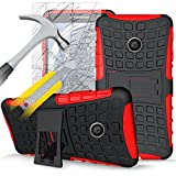 ITALKonline Motorola Moto E (2nd Gen) Moto E2 (2015) Red Black Tough Hard Shock Proof Rugged Heavy Duty Case Cover with Viewing Stand and Tempered Glass Protective LCD Screen Protector with MicroFibre Polishing Cleaning Cloth and Application Card