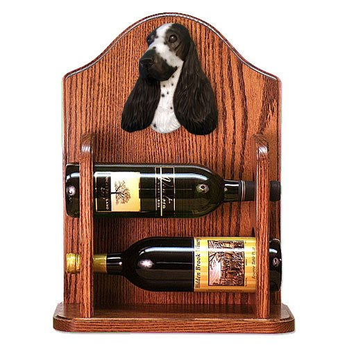 Michael Park BLUE ROAN English Cocker Spaniel Wine Rack 2 Bottle-Dark Oak hot sale european style resin phoenix wine rack high end home accessories bar wine rack wholesale