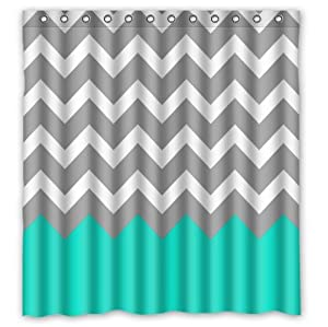 Chevron Pattern Turquoise Grey White Waterproof Bathroom Fabric