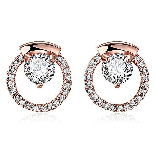 Leka Neil Platinum or Gold Plated Sterling Silver Earrings Cubic Zirconia Stud Earrings Cultured Pearl Stud Earrings Fashion Jewelry